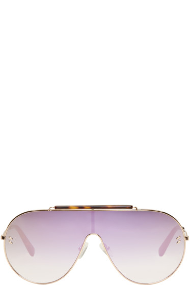 Stella McCartney - Rose Gold Oversized Shield Aviator Sunglasses