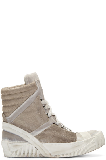Boris Bidjan Saberi - Grey Lamb Leather Bamba 4 Sneakers