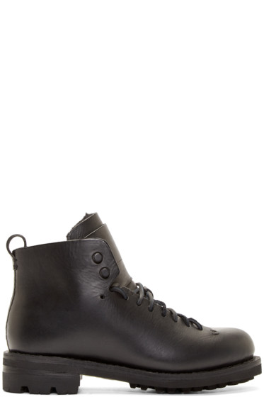 Feit - Black Leather & Wool Hiker Boots