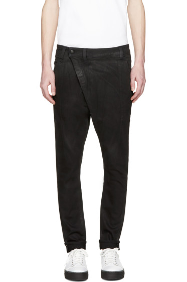 R13 - Black Coated X-Over Jeans