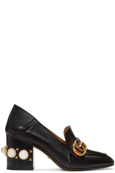 Gucci - Black GG Peyton Moccasin Heels