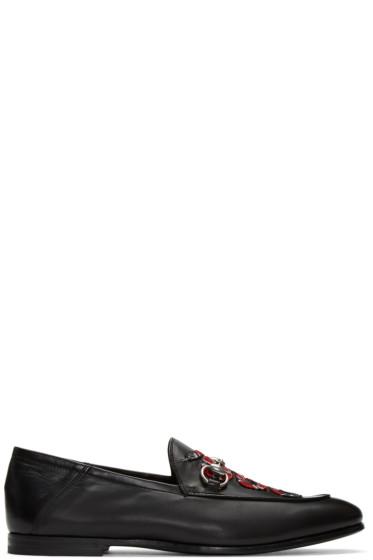 Gucci - ブラック エンブロイダ スネーク ローファー