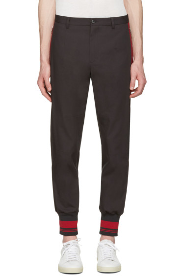 Dolce & Gabbana - Grey & Red Rib Knit Cuff Trousers