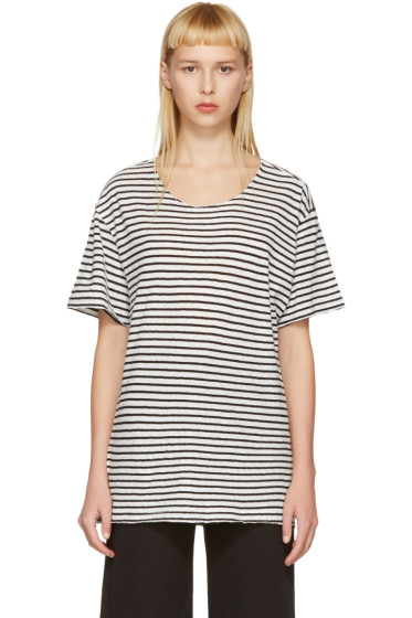 R13 - Black & White Striped Rosie T-Shirt