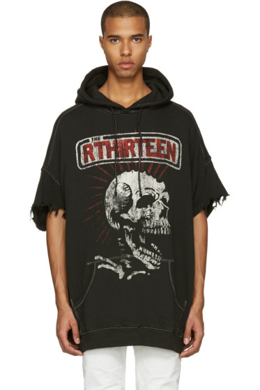 R13 - Black Oversized Cut Off Skull Lukas Hoodie