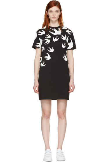 McQ Alexander Mcqueen - Black Swallows T-Shirt Dress