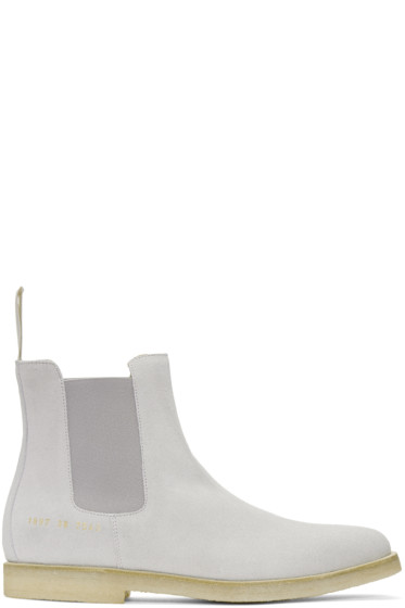 Common Projects - Grey Suede Chelsea Boots
