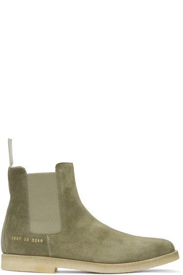 Common Projects - Taupe Suede Chelsea Boots