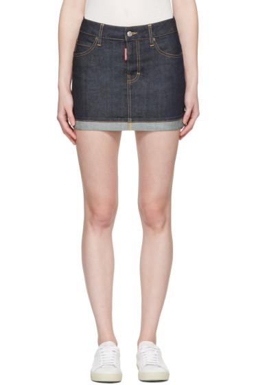 Dsquared2 - Blue Denim Glam Head Miniskirt