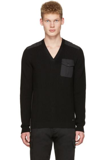 Dsquared2 - ブラック V ネック ポケット セーター