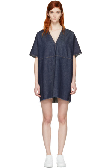 MM6 Maison Margiela - Indigo Denim V-Neck Dress