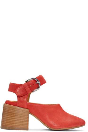 MM6 Maison Margiela - Red Suede Cube Mary Jane Heels