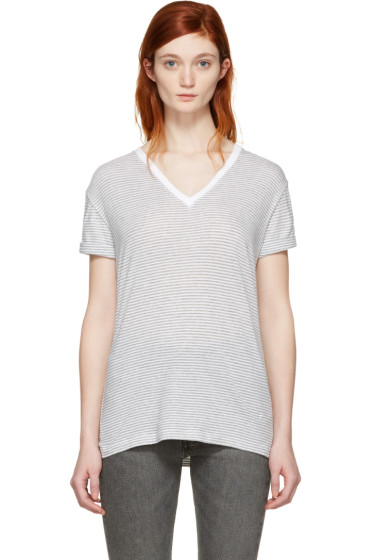 T by Alexander Wang - Grey & White V-Neck T-Shirt