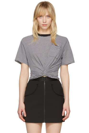 T by Alexander Wang - Black & White Front Twist T-Shirt