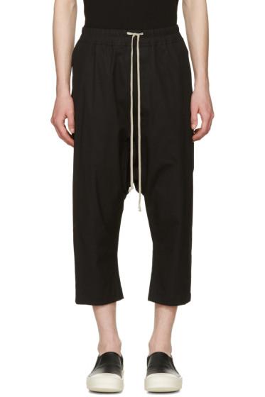 Rick Owens - Black Cropped Drawstring Trousers
