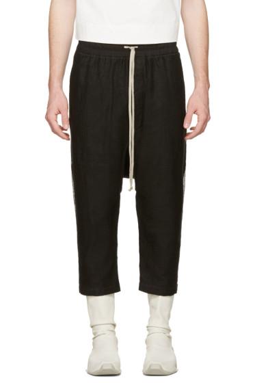 Rick Owens - Black Mesh Drawstring Cropped Trousers