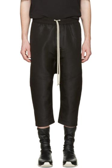 Rick Owens - Black Drawstring Cropped Trousers