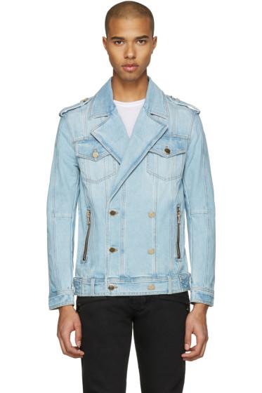 Balmain - Blue Double-Breasted Denim Jacket