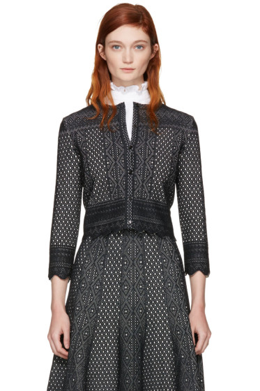 Alexander McQueen - Black Cropped Jacquard Cardigan