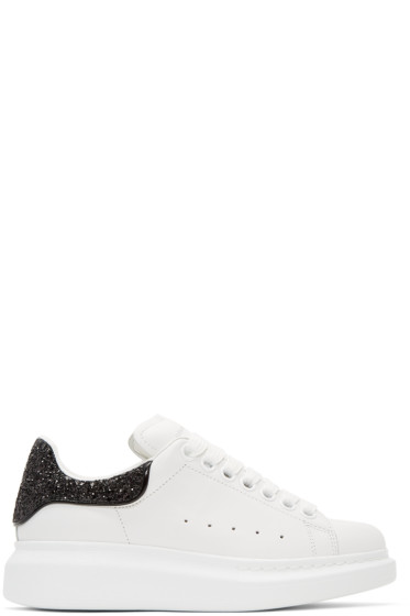 Alexander McQueen - White & Black Glitter Oversized Sneakers