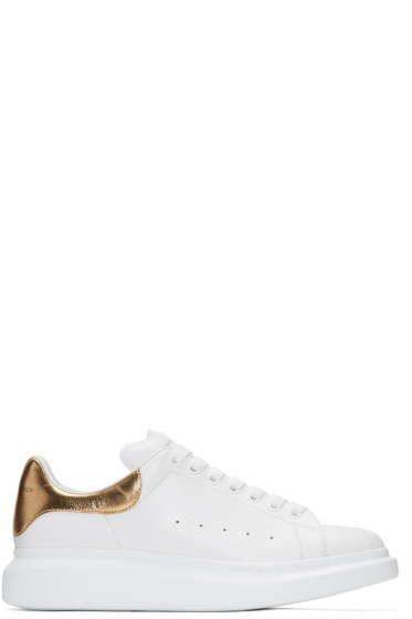 Alexander McQueen - White & Gold Oversized Sneakers