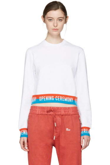 Opening Ceremony - White Cropped Elastic Logo Pullover