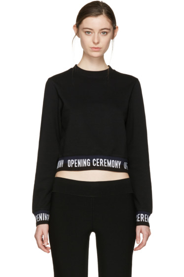 Opening Ceremony - Black Cropped Elastic Logo Pullover