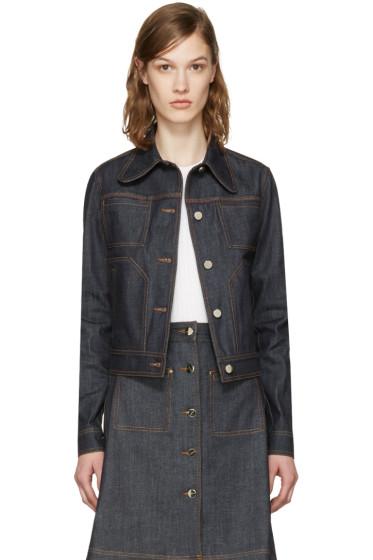 Carven - Blue Denim Fitted Pockets Jacket