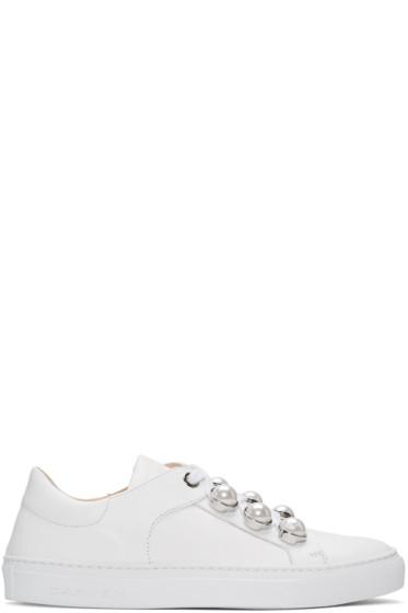 Carven - White Pearl Button Sneakers