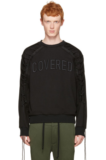 Juun.J - Black Lace-Up 'Covered' Pullover