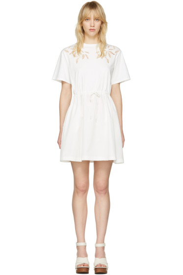 See by Chloé - Off-White Drawstring T-Shirt Dress