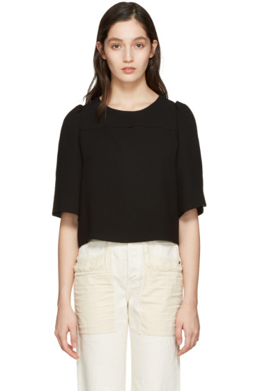See by Chloé - Black Textured Cropped Blouse