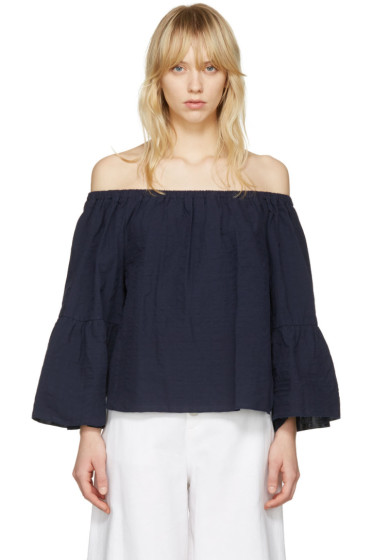 See by Chloé - Navy Off-The-Shoulder Blouse