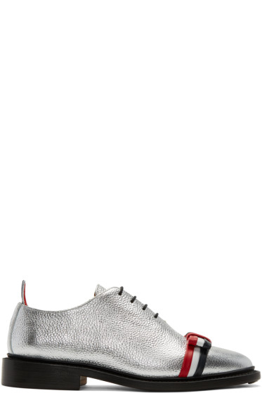 Thom Browne - Silver Wholecut Bow Oxfords