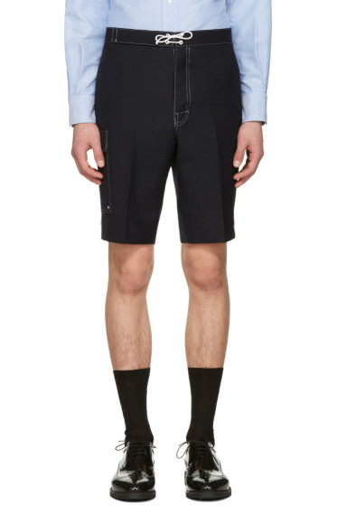 Thom Browne - Navy Constructed Square Pocket Shorts