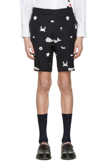 Thom Browne - Navy Multi Icon Funmix Side Tab Shorts