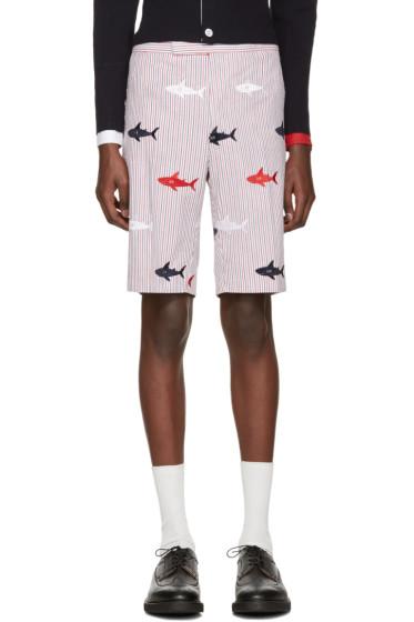 Thom Browne - Tricolor Classic Striped Shark Backstrap Shorts