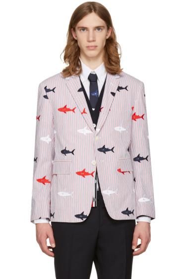 Thom Browne - Tricolor Allover Shark Classic Blazer