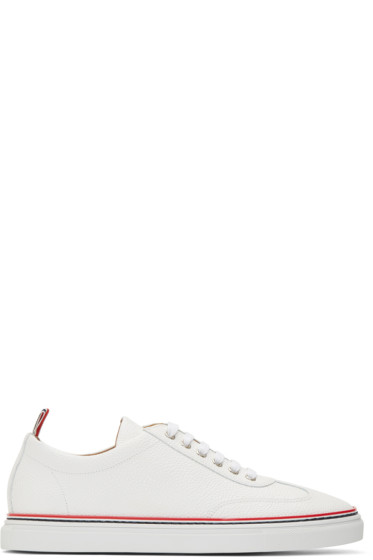 Thom Browne - White Pebbled Leather Sneakers