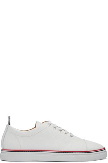 Thom Browne - White Straight Toe Cap Sneakers
