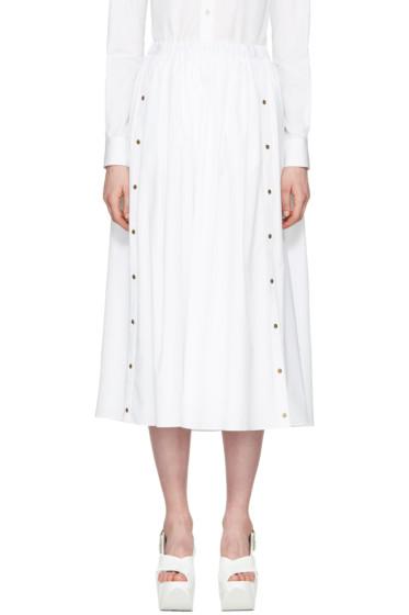 Kenzo - ホワイト ポプリン ボタン スカート