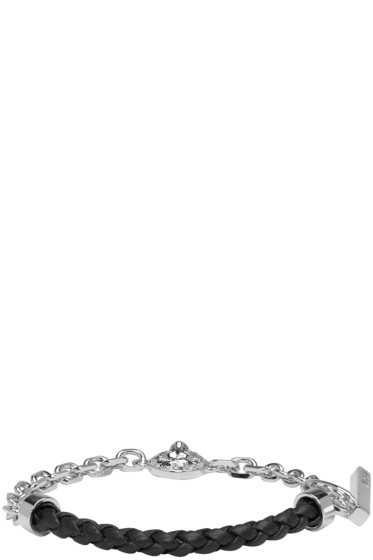Versus - シルバー & ブラック ハーフ ブレイド ライオン ブレスレット