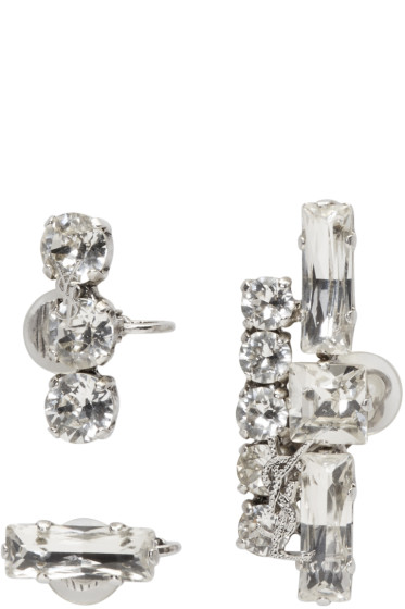 Saint Laurent - Set of Three Clear Crystal Earrings