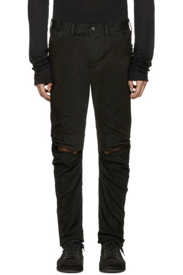 Julius - Black Coated Slit Knees Jeans