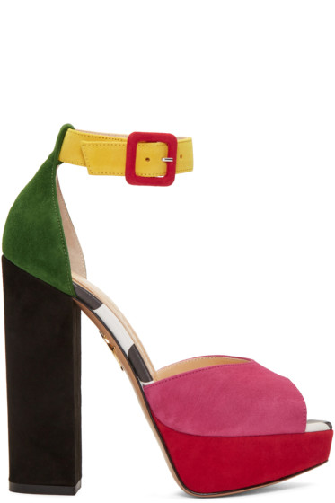 Charlotte Olympia - Multicolor Suede Eugenie Platform Sandals