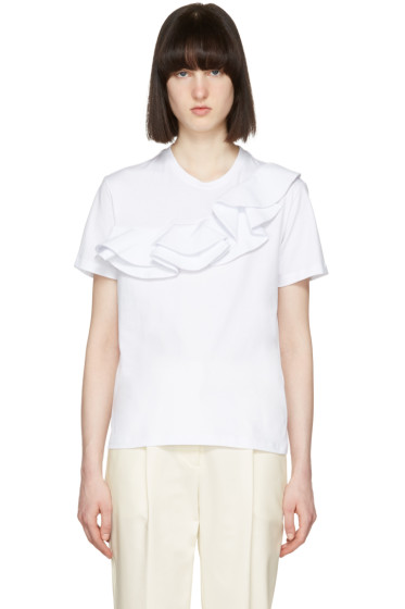 MSGM - White Asymmetric Ruffle T-Shirt