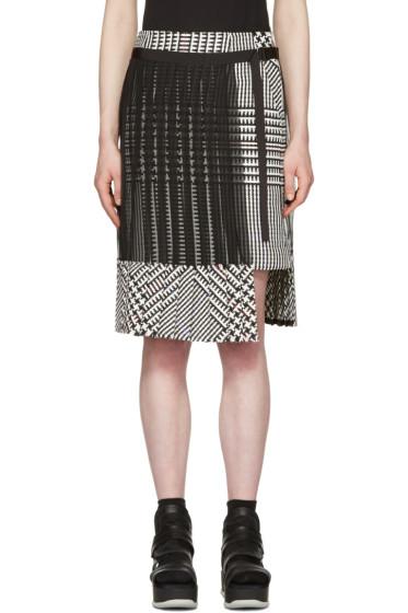 Sacai - ブラック & ホワイト チェック プリーツ スカート