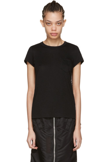 Sacai - Black Striped Panels T-Shirt
