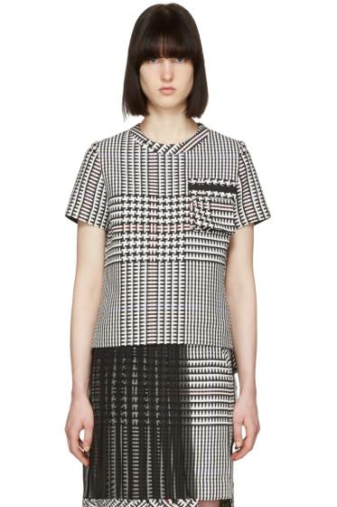 Sacai - ブラック & ホワイト チェック プリーツ T シャツ
