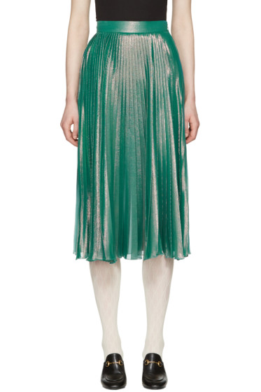 Gucci - Green Lurex Plissé Skirt